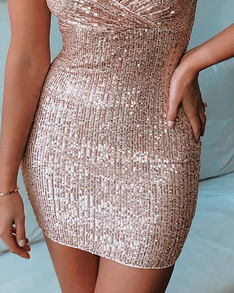 Sequins Puff Sleeve Bodycon Dress