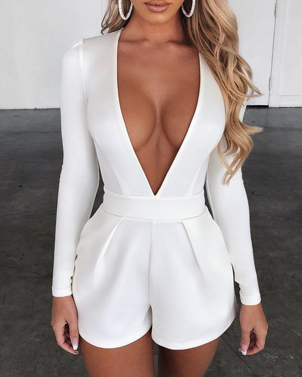 Plunge Long Sleeve Solid Romper