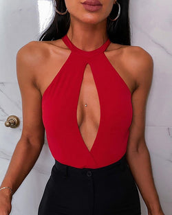 Halter Cut Out Front Bodysuit