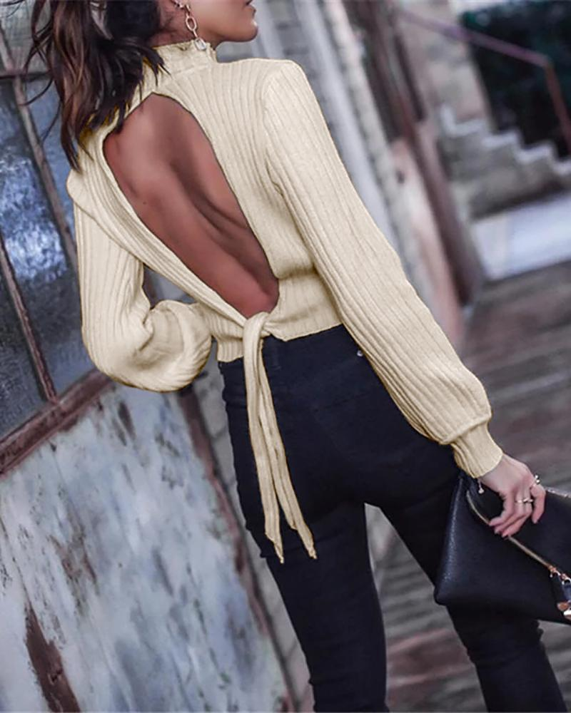 High Neck Backless Tied Ribbed Blouse