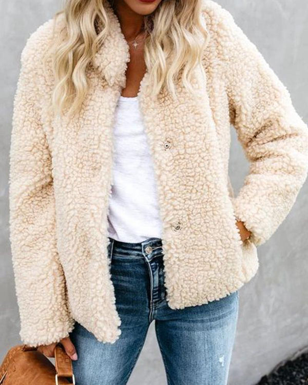 Plain Long Sleeve Teddy Coat