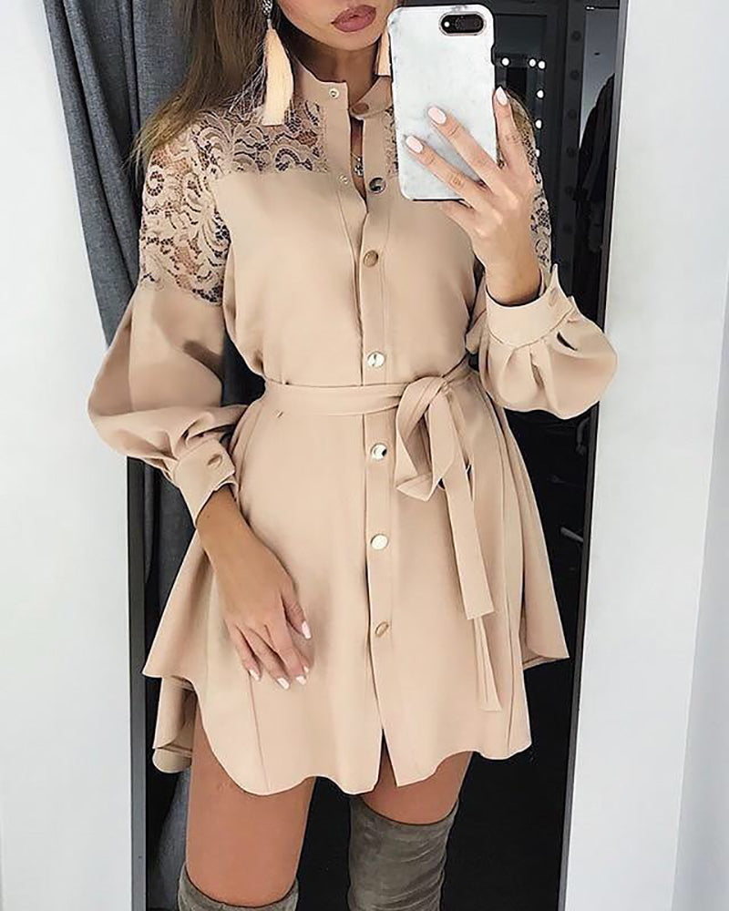 Lace Insert Long Sleeve Shirt Dress