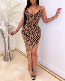 Glitter Spaghetti Strap High Slit Dress