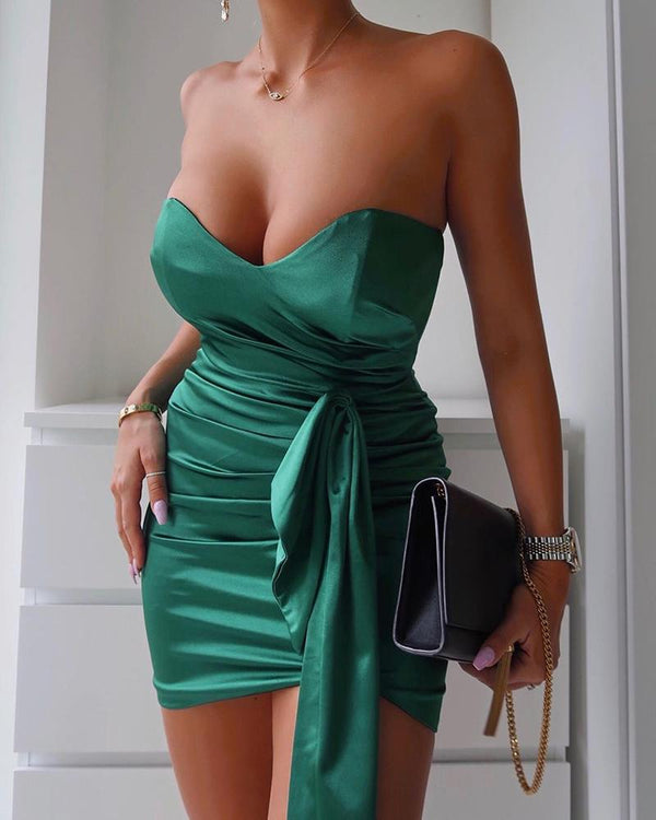 Tube Ruched Design Sleeveless Party Dress