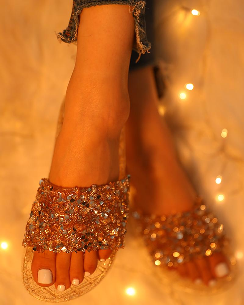 Open Toe Glitter Studded Flat Sandals