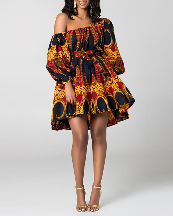 Print One Shoulder Lantern Sleeve Mini Dress