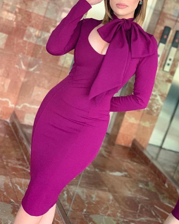 Solid Tied Neck Long Sleeve Bodycon Dress