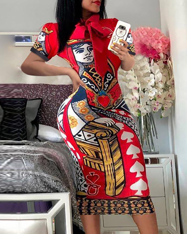 Casual Poker Printing Bodycon Dress