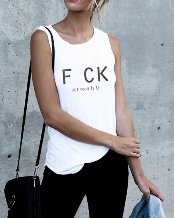 Casual Fashion Slogan Tank Tops