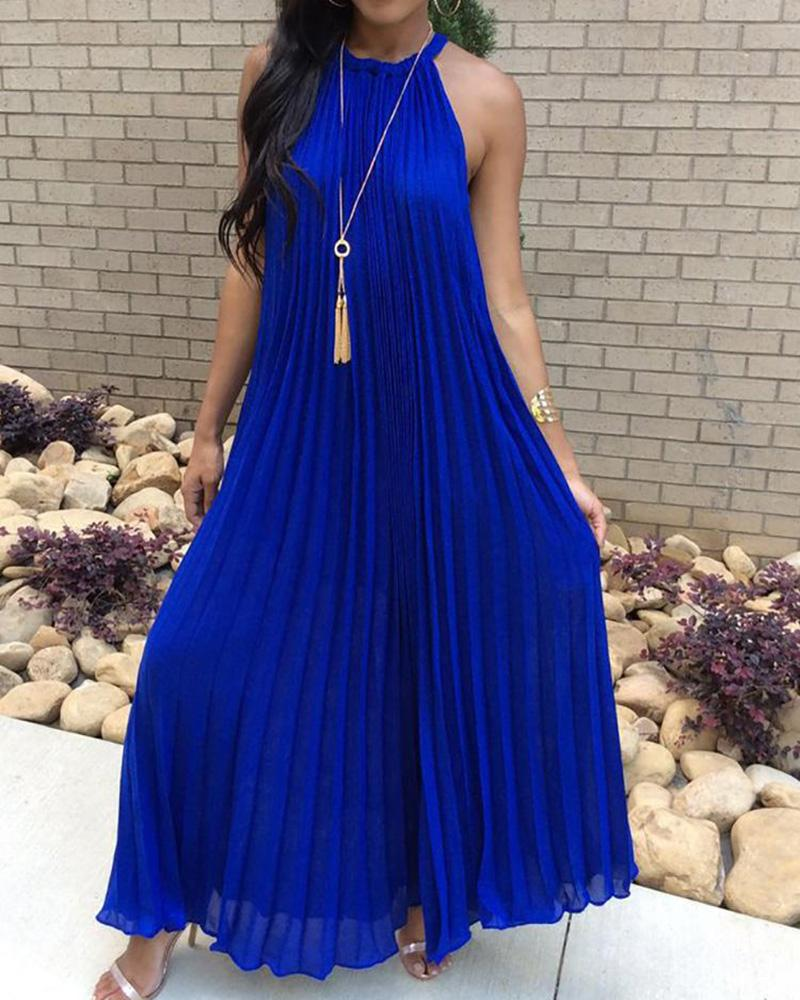 Hot Summer Halter Pleated Casual Maxi Dress