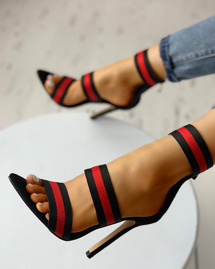 Contrast Color Strap Thin Heeled Sandals