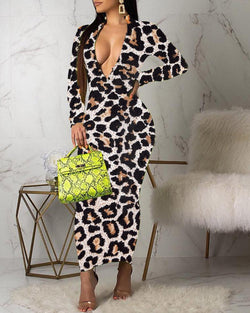 Leopard Zipped Neck Bodycon Dress
