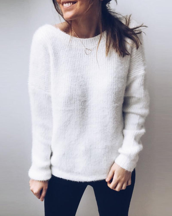 Solid V Neck Surplice Wrap Knitting Sweater