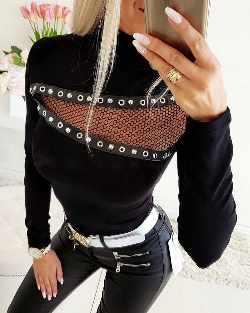 Mock Neck Studded Sheer Hollow Out Mesh Inset Blouse