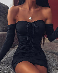 Off Shoulder Sweetheart Long Sleeve Dress