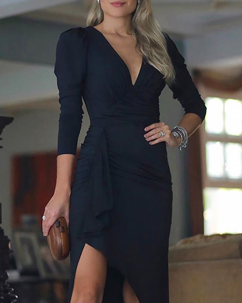 Solid V Neck Puff Sleeve Slit Ruched Dress