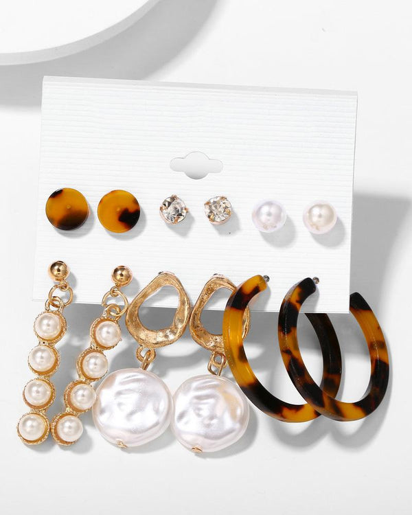 6 Pairs Beaded Hoop Ear Cuff Earring Set