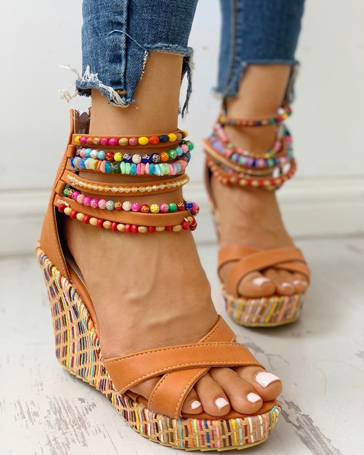 Colorful Beaded Platform Wedge Sandals