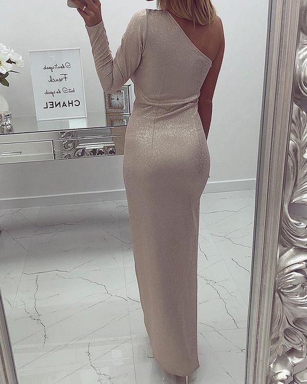 Shiny One Sleeve Thigh Slit Evening Dress