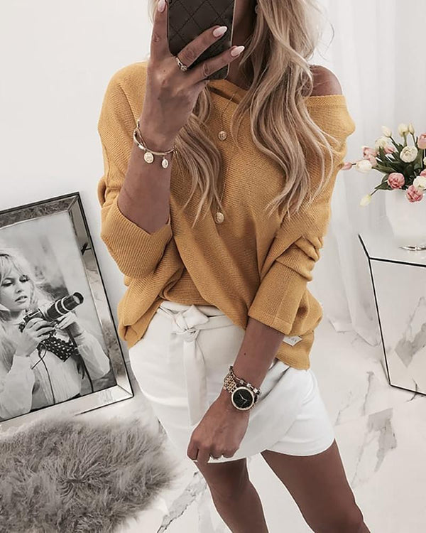 Solid Ribbed Long Sleeve Casual Blouse