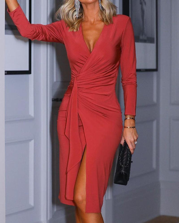 V Neck High Slit Wrap Dress