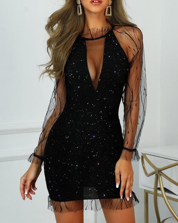 Glitter Sheer Mesh Frill Party Dress