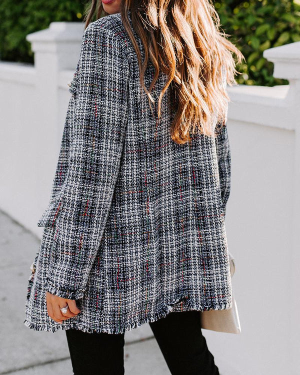 Plaid Frayed Hem Button Tweed Blazer