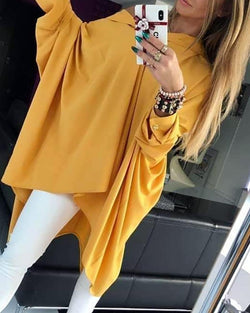 Solid Batwing Sleeve Ruched Shirt