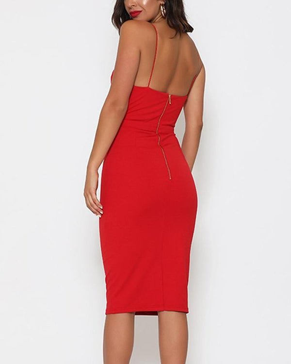 Bodycon Spaghetti Strap Midi Dress