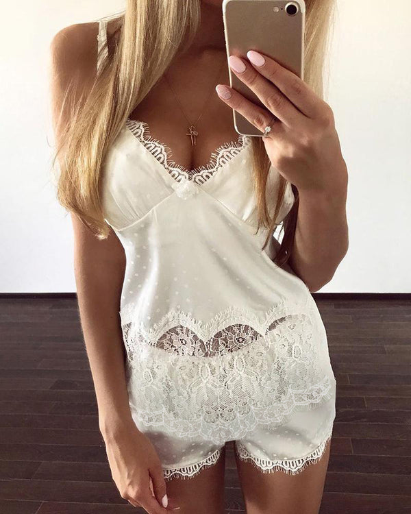 Dot Print Eyelash Lace Cami Set
