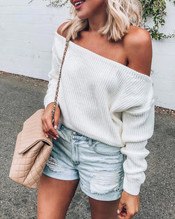 Solid Off Shoulder Long Sleeve Knitting Sweater
