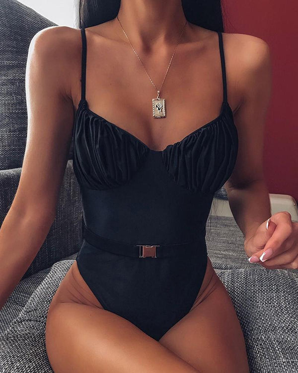 Solid Spaghetti Strap One Piece Swimsuit