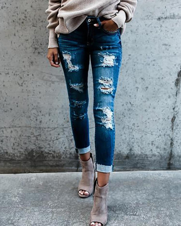 Ripped Fringes Pencil Skinny Jeans