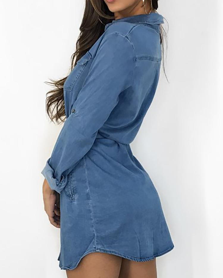Long Sleeve Belted Denim Shirt Dress