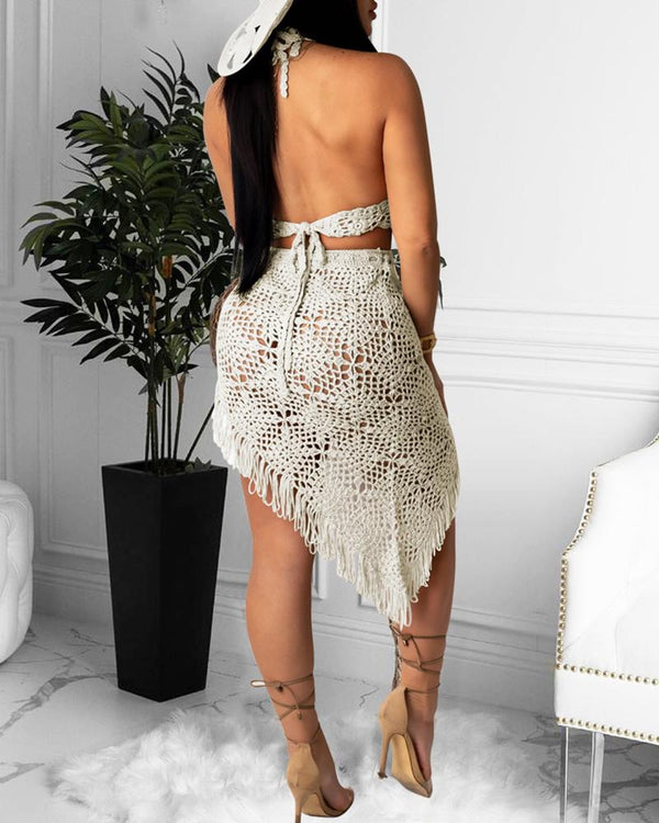 Knitted Halter Backless Top & Irregular Midi Skirt Set