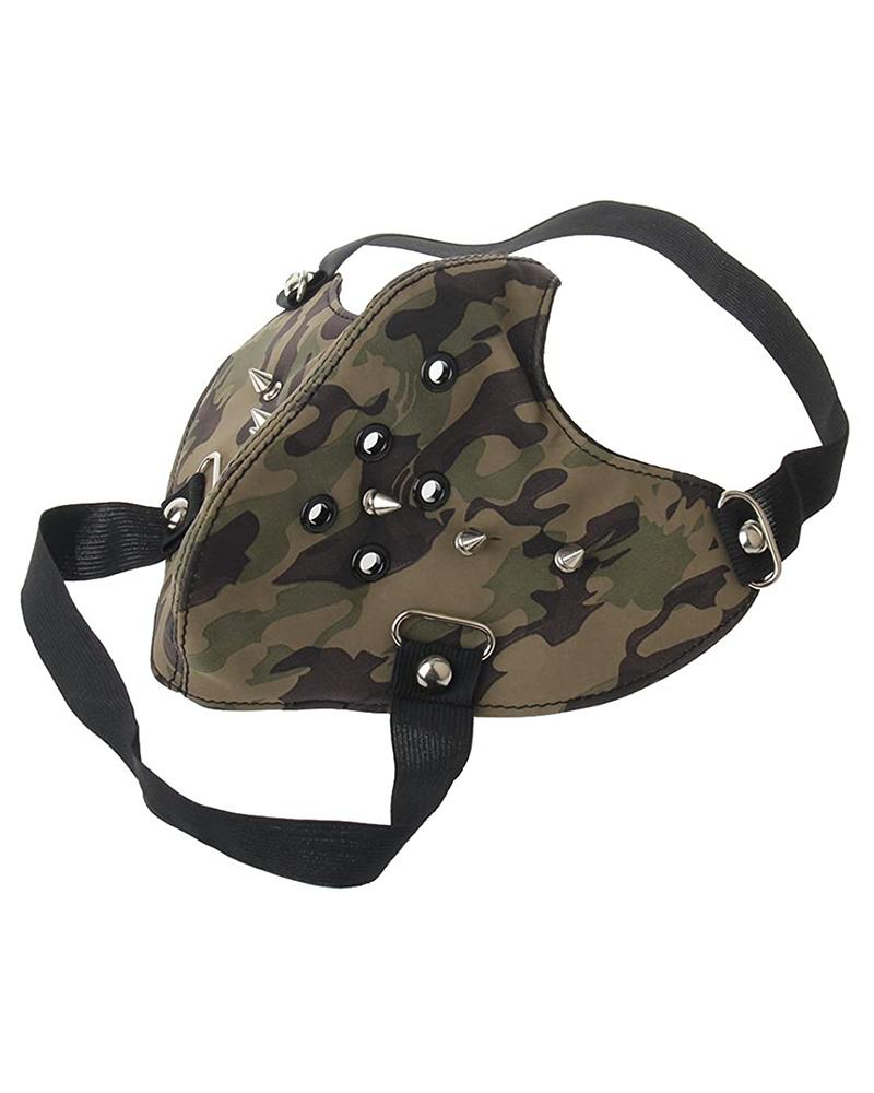 Rivet Camouflage Punk Leather Breathable Motorcycle Biker Face Mask
