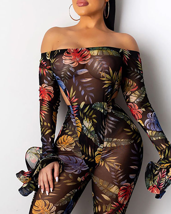 Off Shoulder Palm Leaf Print Sheer Mesh Bootcut Jumpsuit