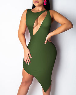 Solid Sleeveless Cut Out  Asymmetrical Dress