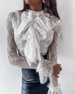 Solid Lace Embroidery Bowknot Design Blouse