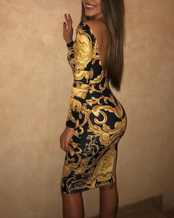 Baroque Print Vintage Backless Midi Dress