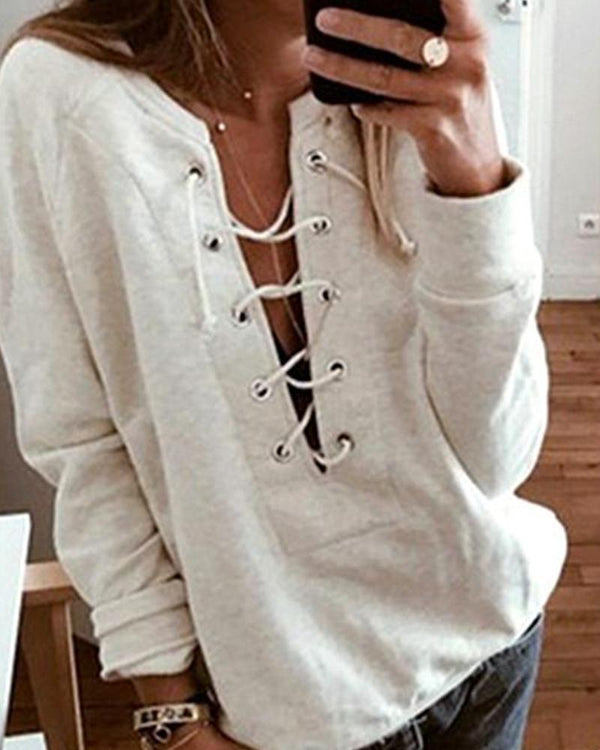 Open Front Lace Up Top