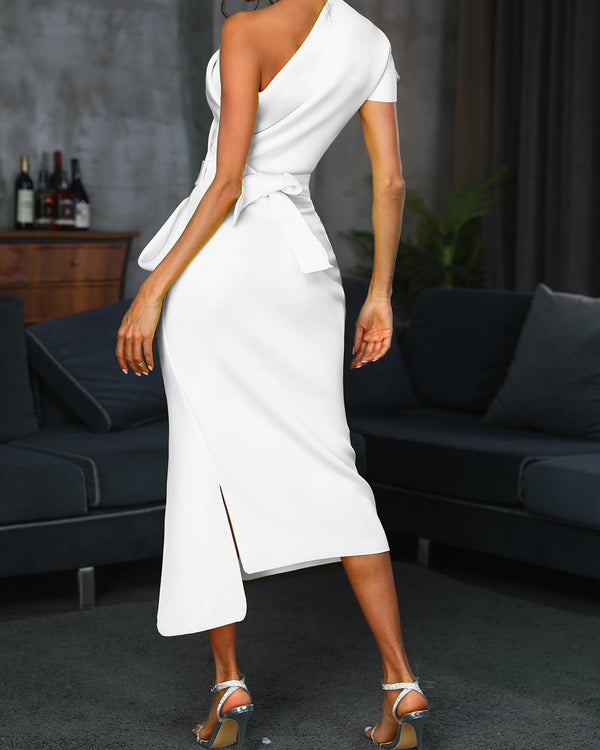 One Shoulder Ruched Slit Irregular Dress