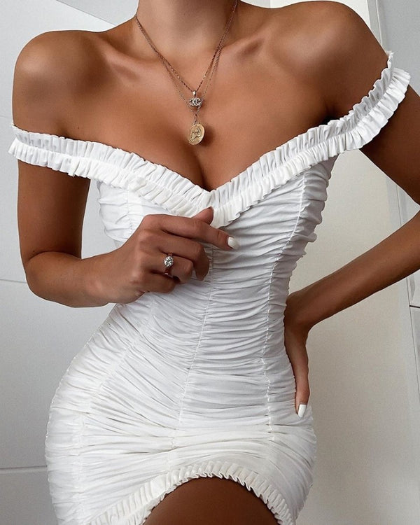 Solid Off Shoulder Ruched Bodycon Dress