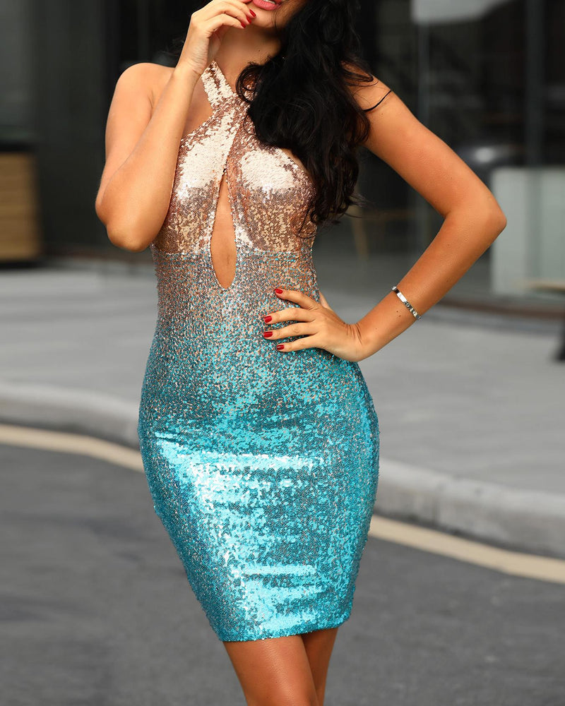 Crisscross Halter Backless Bodycon Sequin Dress