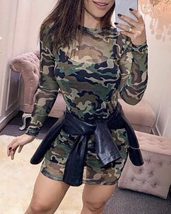 Round Neck Camouflage Print Casual Dress