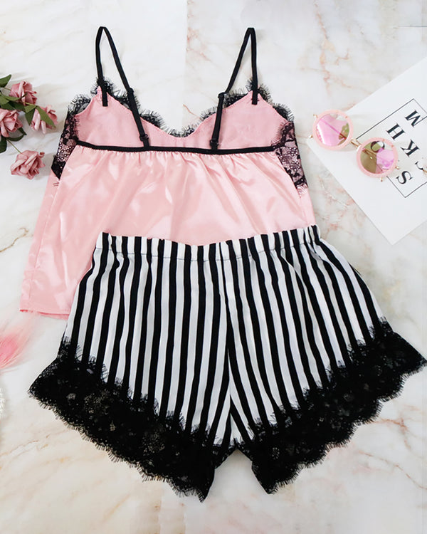 Striped Spaghetti Strap Lace Trim Cami Set