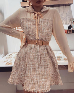 Patchwork Ruffles Cuff Tied Neck Dress