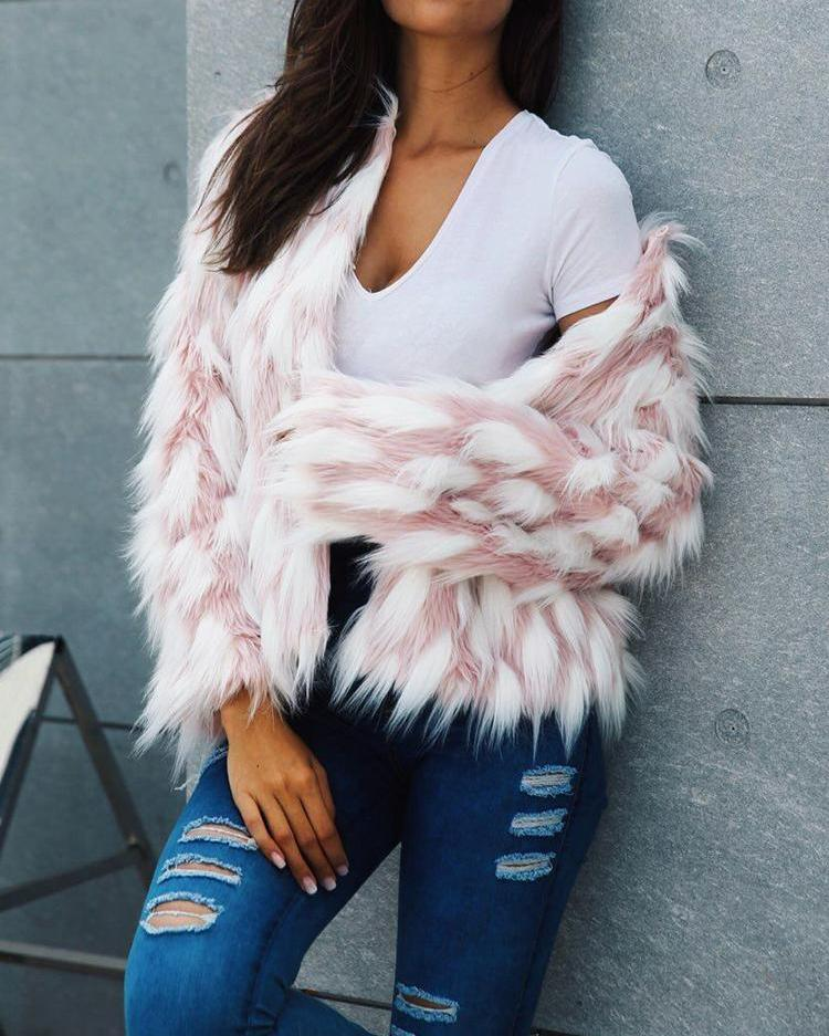 Color Block Open Front Fluffy Faux Fur Coat