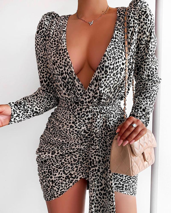 Leopard Puff Sleeve Tied Waist Ruched Dress