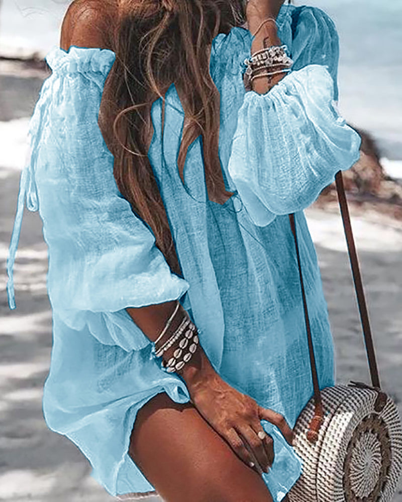 Off Shoulder Long Sleeve Cover Up